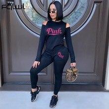 FQLWL – survêtement à manches longues pour femmes, ensemble deux pièces, Streetwear, moulant, noir, assorti, 2021