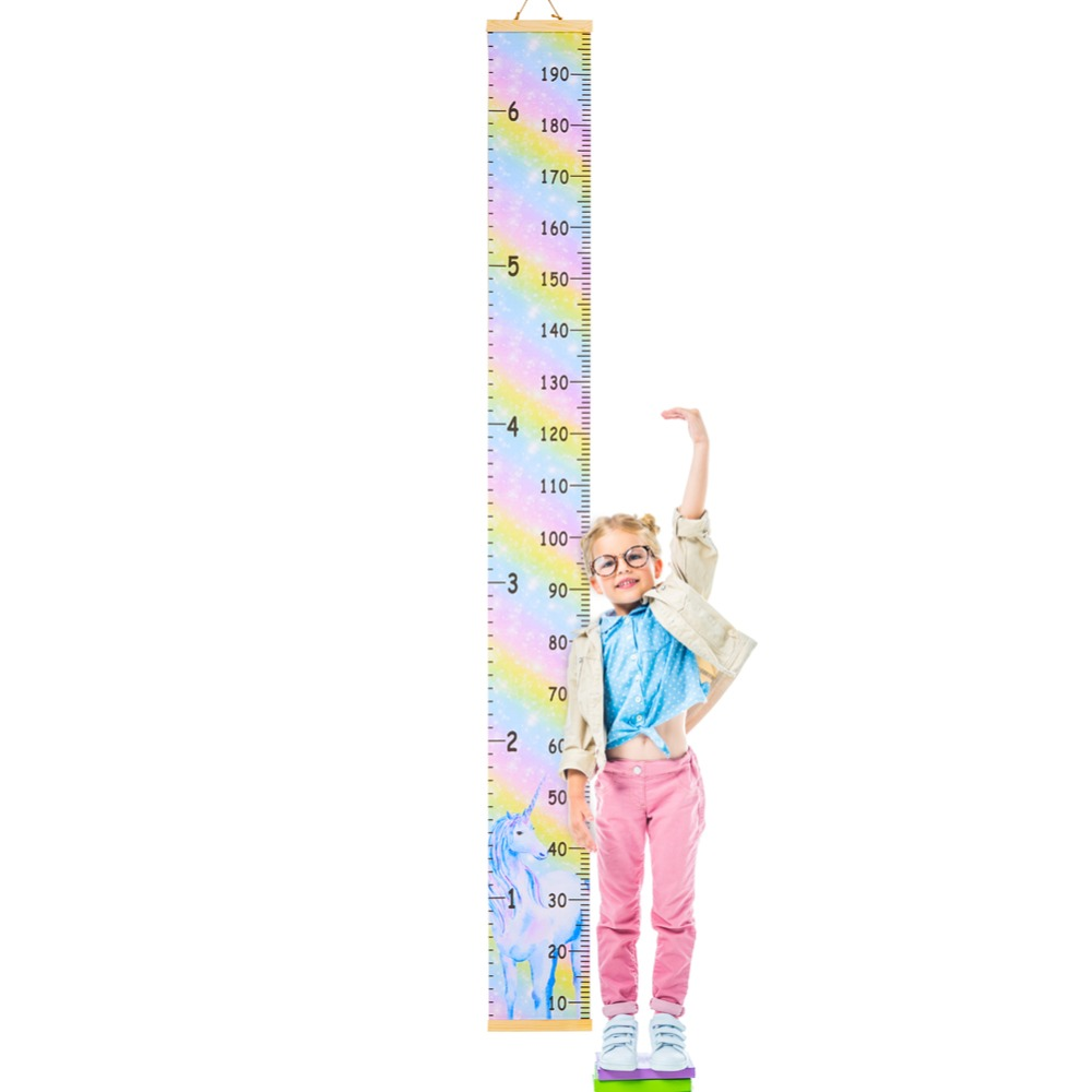 Home Decor Wall Hanging Cartoon Pattern Height Measure Ruler Wooden Children Height Ruler Growth Chart Table Wall Sticker