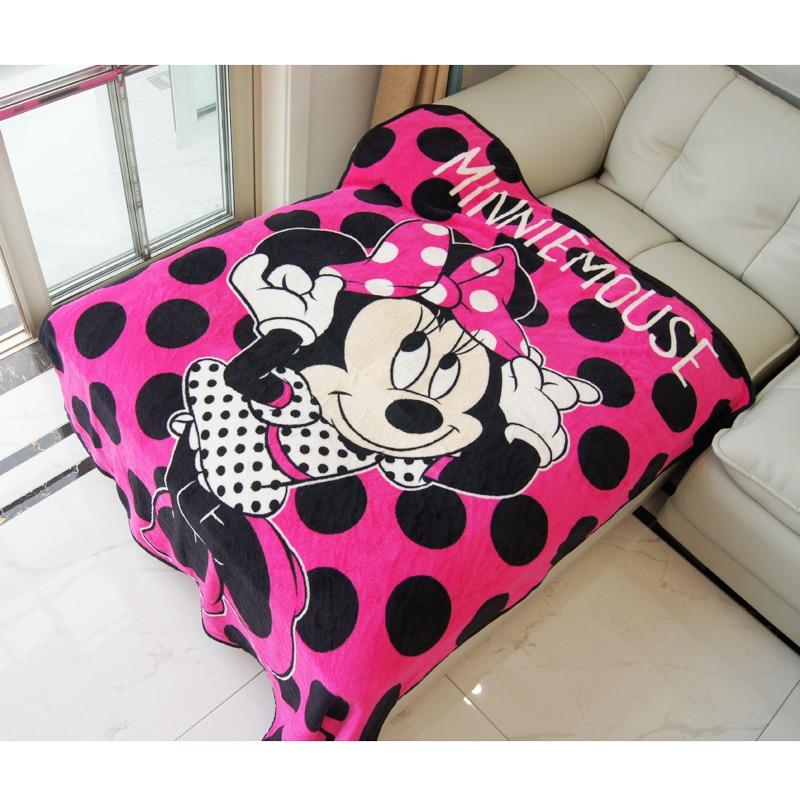 Disney Cartoon Fuchsia Minnie Mouse Soft Flannel Blanket Throw For Girls Children On Bed Sofa Couch 117X152cm Kids Present