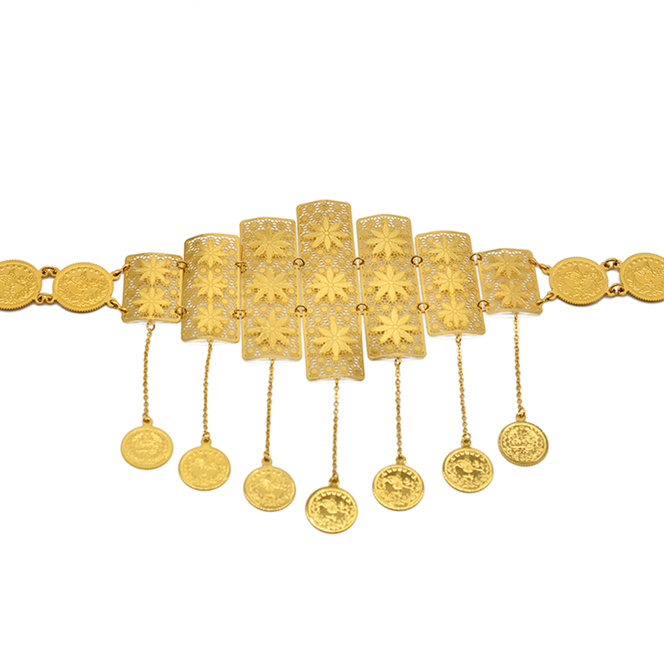 Anniyo Saudi Chain Belts for Women,Turkish Coins Belly Chains Metal Belt Jewelry Middle East Iraqi Kurdistan Arab Gifts #016901