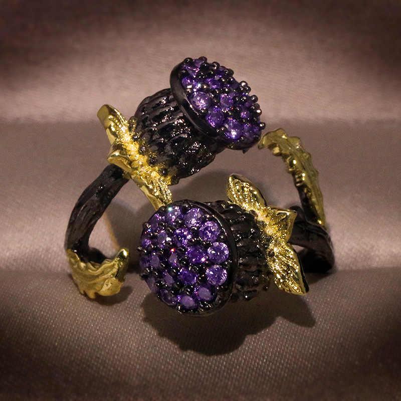Hoge Kwaliteit Paars Zirkoon Ringen Voor Vrouwen Wedding Moet 2020 Sieraden Plant Bloem Geel Goud Ontwerp Twee Tonen Kleur