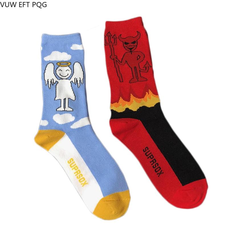 Women  Christmas Socks  Harajuku Devil And Angel Cartoon Pattern Fashion Cute Gift Sock  Punk  Cotton