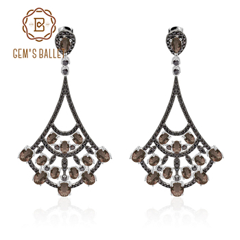 GEM'S BALLET 6.98Ct Natural Smoky Quartz 925 Sterling Sliver Ethnic Gypsy Statement Dangle Drop Earrings For Women Fine Jewelry