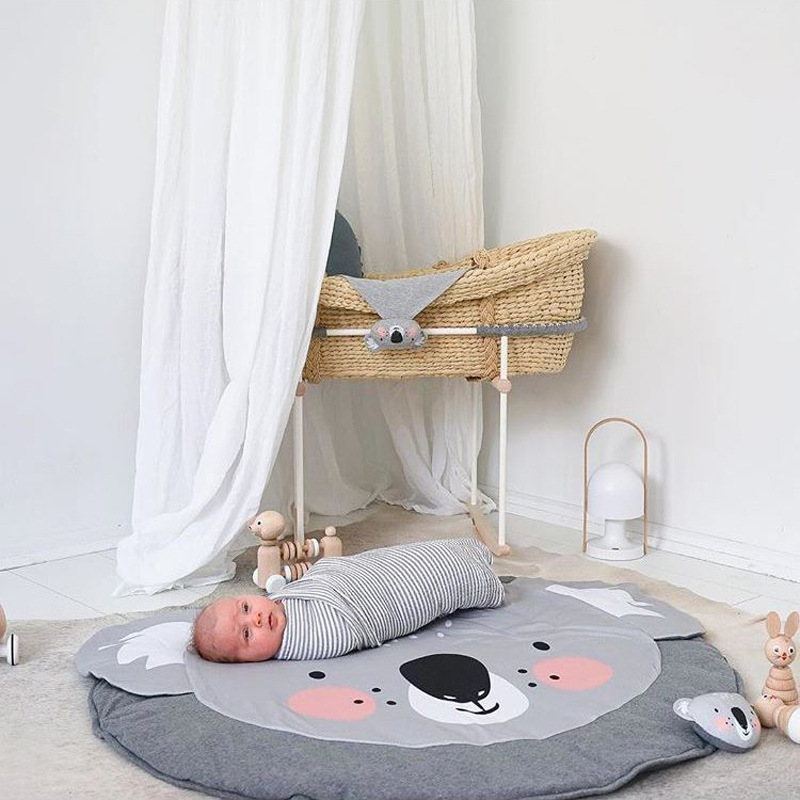INS Models Hot Sale Cartoon Cotton Children's Crawling Mat Koala Game Mat Round Carpet Children's Room Decorations
