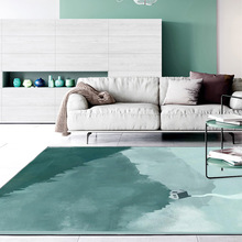 Custom made carpet Fashion simple INS blue lake abstract watercolor art bedroom Office hotel Big mat living room Crystal