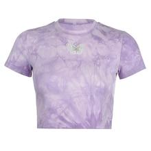Women Tie Dye Butterfly Crop T-Shirt, Crew Neck Navel Crop Top Tees Shirts (Purple, S M L)