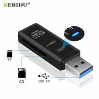KEBIDU-lector de tarjetas USB 3,0 SD/Micro SD TF OTG, adaptador de tarjeta de memoria inteligente para ordenador portátil, USB 3,0, lector de tarjetas inteligentes