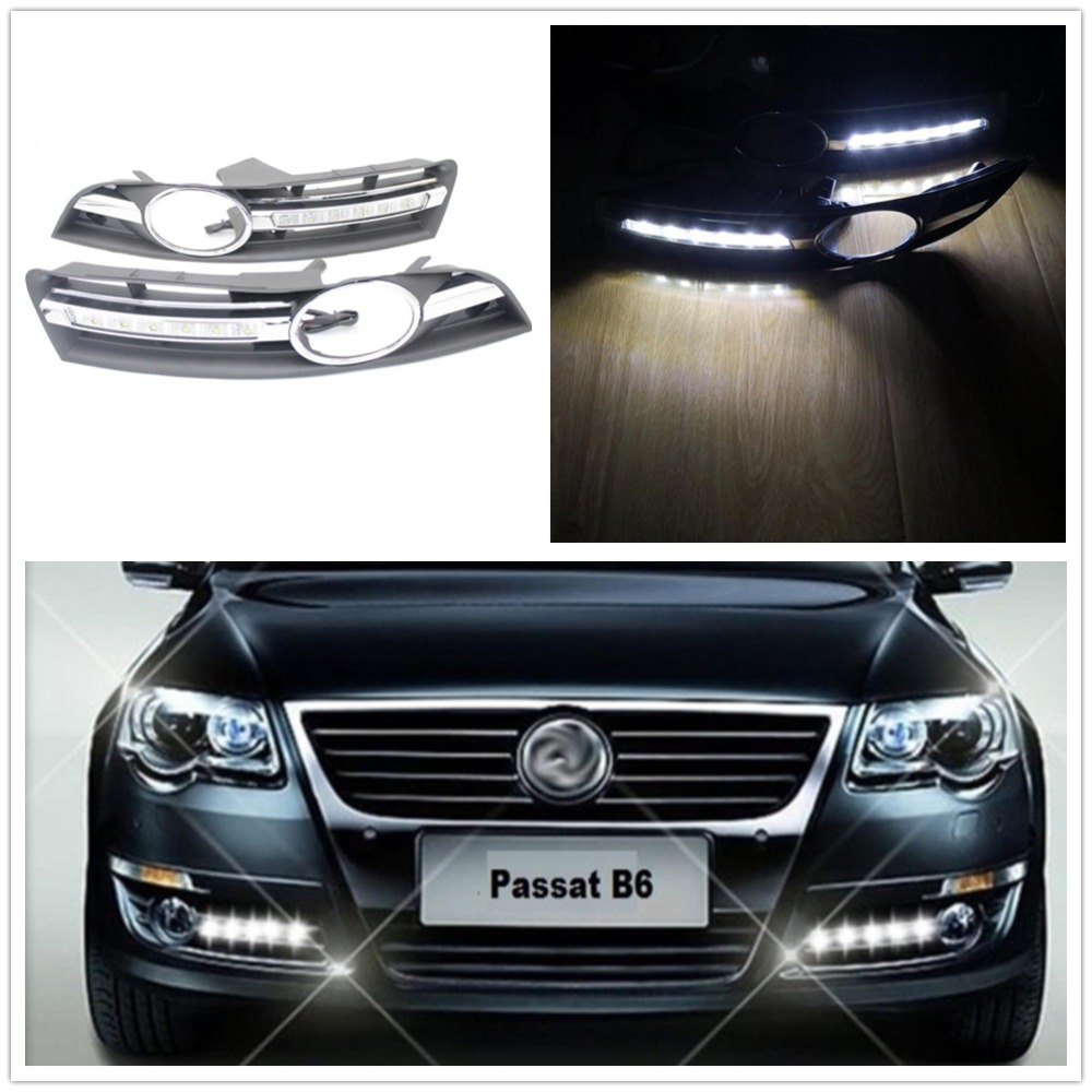Pair LED DRL For VW Passat B6 2006 2007 2008 2009 2010 2011 Car-styling LED DRL Daytime Running Light Waterproof  With Harness