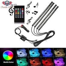 Car LED Strip Light, 4pcs RGB DC 12V Multicolor Music Car Interior Light LED Under Dash Lighting Kit with Sound Active Function