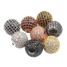 3 teile/los CZ Spacer Runde Perle 4mm 6mm 8mm 10mm 12mm Messing Micro Pflastern Cubic zirkonia Perlen für Schmuck Machen Diy Charme Armband