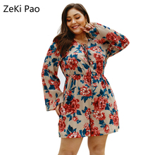 Sexy Spring and Summer Women's Flower Print Lace Up V-Neck Long Sleeve Jumpsuit Elastic Waist Plus Size One Piece Shorts 4XL цена 2017