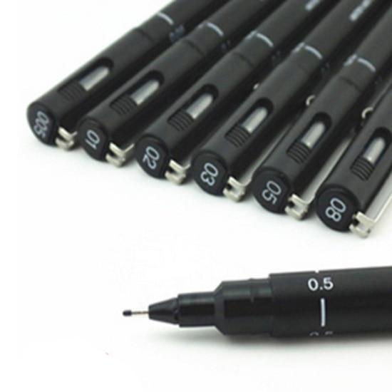 0.05~0.8cm  Pen Drawing Fiber Needles Fine Liner Pen Sketch Sign Pen For Designer Architect Artist Office DP026