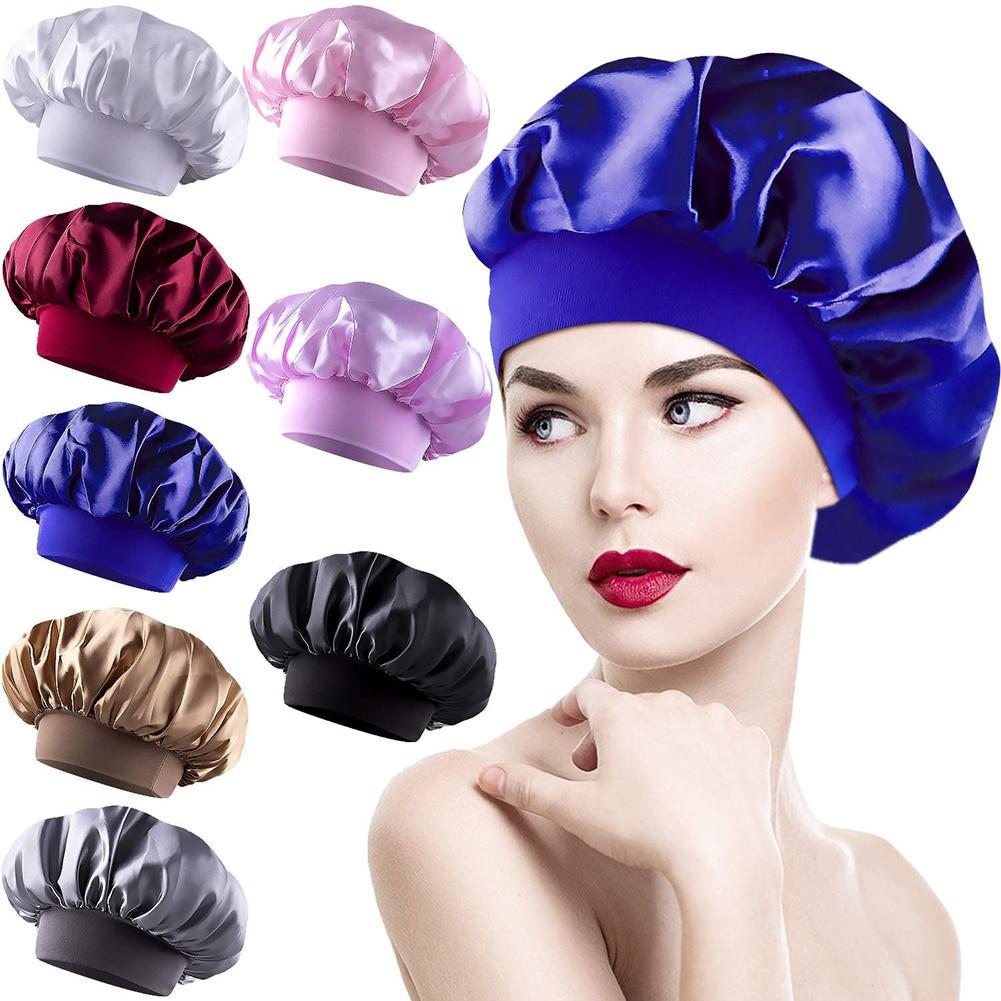 8pcs Wide Elastic Band Sleep Cap Silky Shower Hat Women 8pcs Pure Color Head Cover Stretch Head Wrap Cover Nightcap