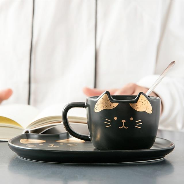 Cat Ceramic Coffee Cup Set  4