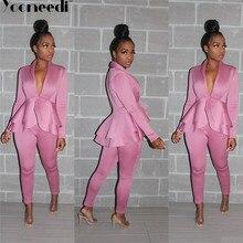 Yooneedi, осенний дизайн, офисные женские блейзеры, 2 шт., Женский комплект, 4 цвета, стильные блейзеры и длинные штаны, SFY-056
