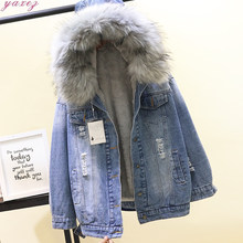 Winter Coat Women New Large Fur Collar Hooded Padded Hole Denim Jacket Loose Warm Lamb Plush Cotton-padded Parkas Female Outwear(China)
