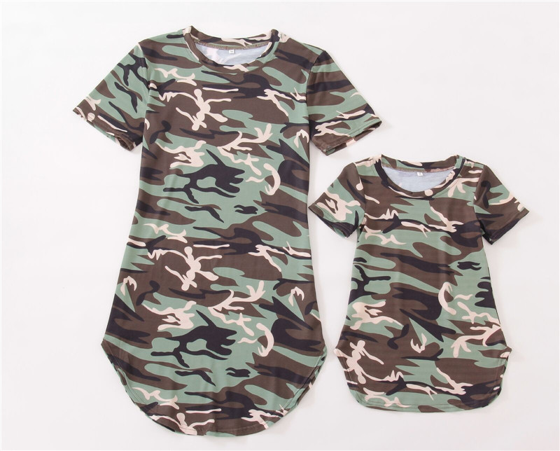 1 Pc Fashion Mother Daughter Camouflage Striped Dress Casual Family Matching Outfit Summer  Short Sleeve Dress