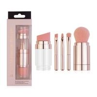 Juego de brochas de maquillaje 5 en 1, cepillo de piel suave y agradable, 3 colores, caja portátil multifuncional, para cejas, labios, colorete