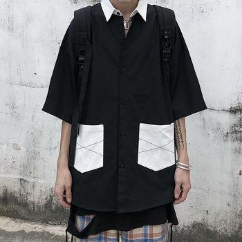 цена Summer Shirt Men's Fashion Contrast Color Casual Shirt Mens Streetwear Loose Short Sleeve Shirt Wild Society Men Dress Shirt онлайн в 2017 году