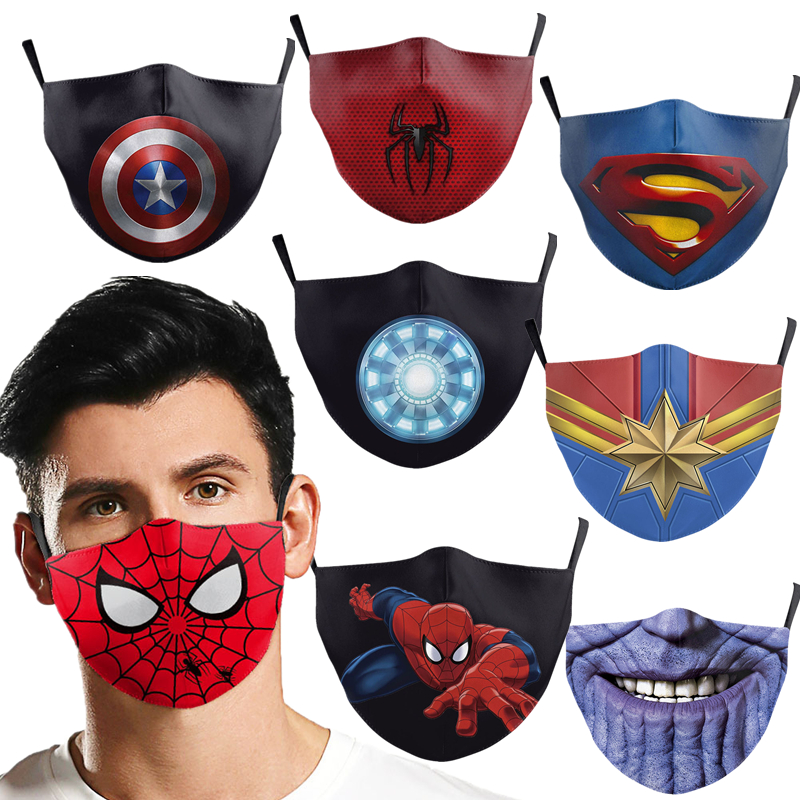 Superhero Superman Captain America Spider Peter Parker The Flash Thanos Iron Man Face Mask Cosplay Adult Dustproof Masks Props