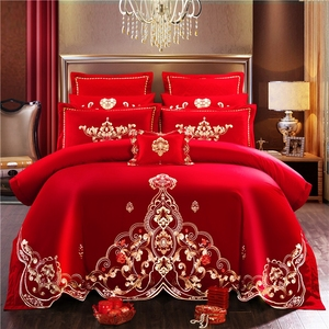 Свадебное постельное белье с атласной вышивкой, Комплект постельного белья, красное постельное белье, хлопковое праздничное пододеяльник, ...