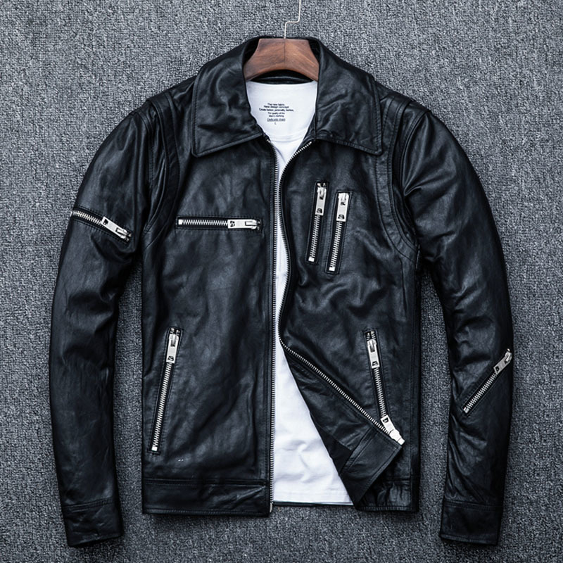 100% Natural Sheepskin Tanned Men Skin Jacket Moto Biker Soft Black Mens Leather Coat Autumn M005