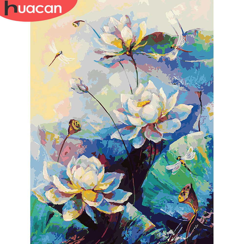 HUACAN Oil Painting By Numbers Lotus Flowers HandPainted Kits Drawing Canvas DIY Pictures Home Decoration Gift