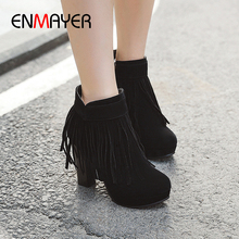 ENMAYER Fringe Super High Ankle Boots for Women Round Toe Flock Zip Square Heel Shoes Solid Short Plush Fashion Creamy-white