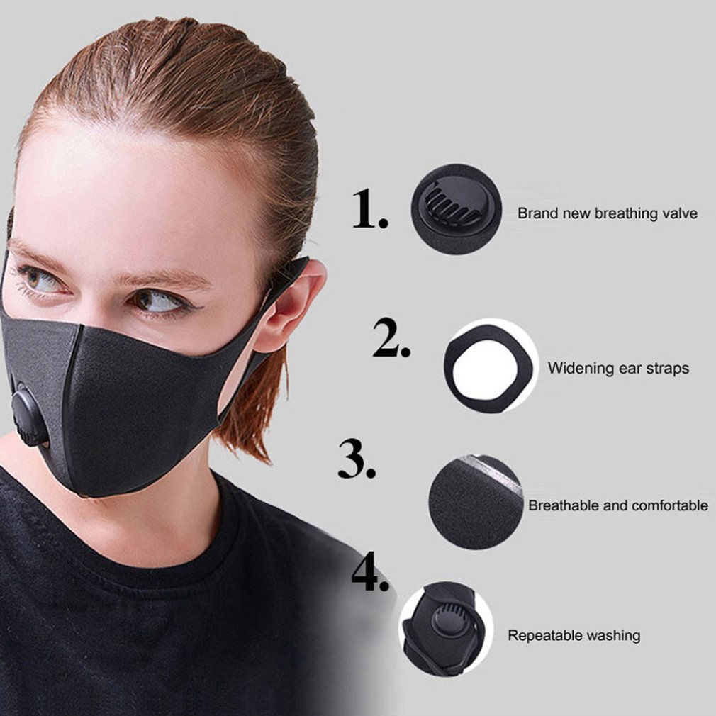 1pcs Anti-fog And Breathing Valve Pm2.5 Mask Winter Cotton Korean Black Three-dimensional Filter Mask Hot Selling