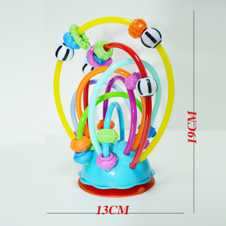 Colorful Bead-stringing Toy Table Sucker Toy Baby Feeding Dining Chair Toy Ring Bell Rattling Beads Color Ring Toy