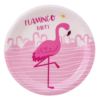 8pcs Flamingo Series Disposable Tableware Paper Plate Cup Straw Birthday Party Decoration Child Adult Wedding Party Supplies image