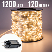 120M 1200LEDs Silver Wire Fairy string Lights Wateproof Plug In for Tree Outdoor Christmas Holiday wedding Garden Decoration