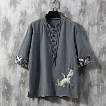 Embroidered Men Cheongsam Tops Tang Suit Traditional Chinese Tee Shirt for Hanfu Loose Blouse Cotton TShirt China