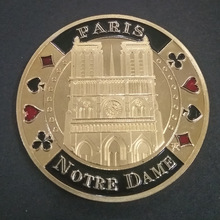 France Notre Dame Cathedral Gold Plated Challenge Coins with Coin Holder Custom Coin Gift Item Dropshipping single custom coins low price us army challenge coin metal milirary coins hot sale american coin fh810251