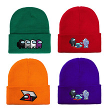 Beanie Hat Embroidery Among Us Knitted Cotton Unisex Fashion Cartoon Hip-Hop Ski-Cap