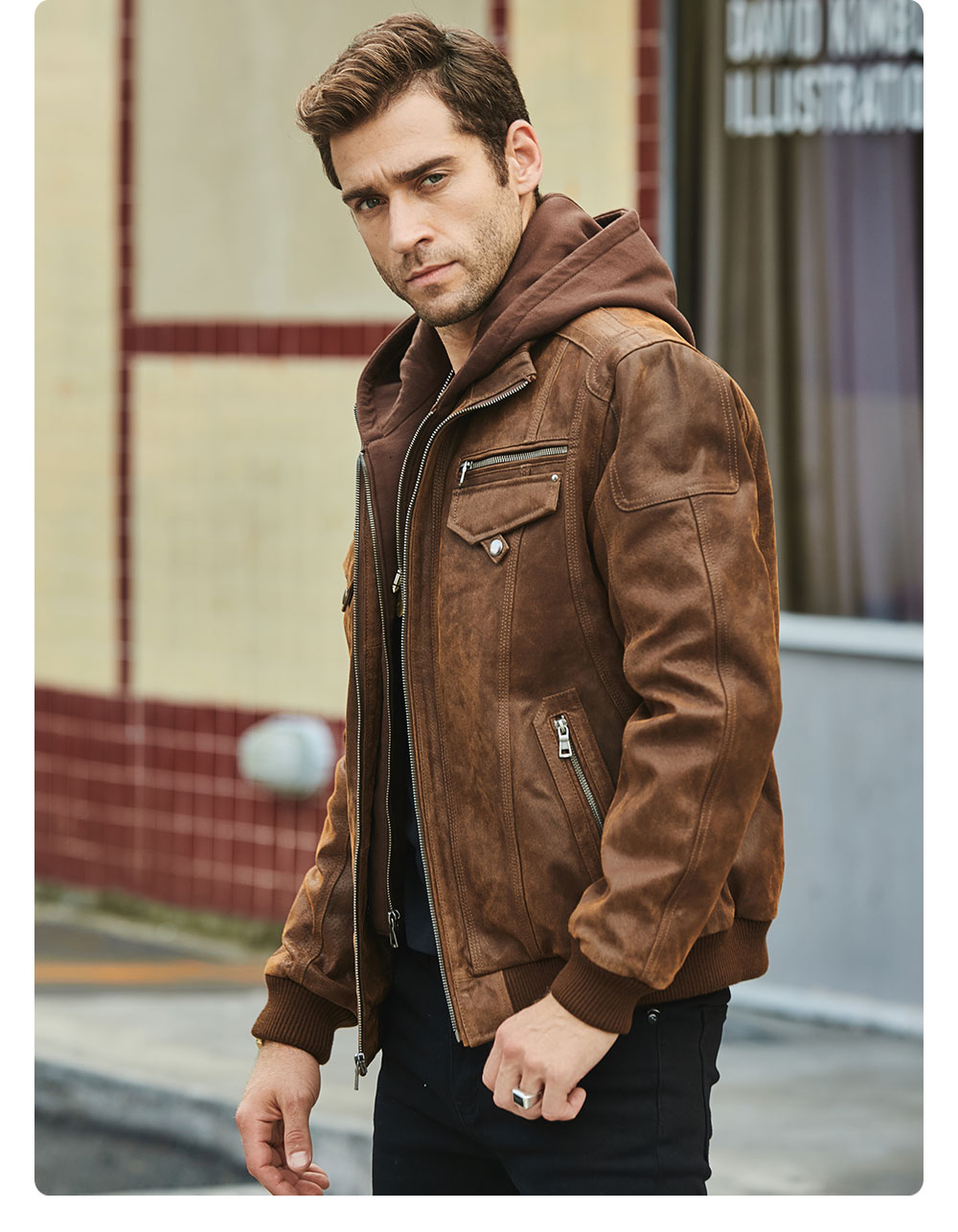 H014713c3d9de4d09984e95a724aab6c6y FLAVOR New Men's Real Leather Jacket with Removable Hood Brown Jacket Genuine Leather Warm Coat For Men
