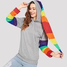 Rainbow bluzy z kapturem damskie bluza słodkie kaptur ogon kolorowe paski z kapturem tuniki Top 2019 jesień zima swetry bluzy szary tanie tanio ANSELF COTTON Poliester Na co dzień Suknem Christmas Hoodies Approx 270-300g REGULAR Pełna