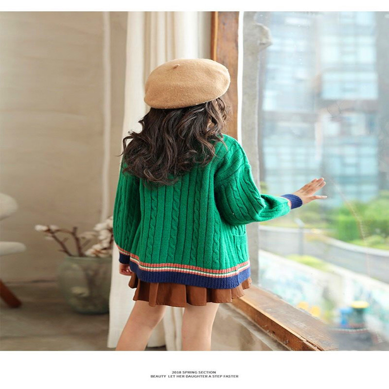 Image 3 - Kids Girls Cardigan Spring Autumn 2020 Knitted Sweaters Button Pure Color Knit Clothes for Teen School Girls Children ClothingSweaters   -