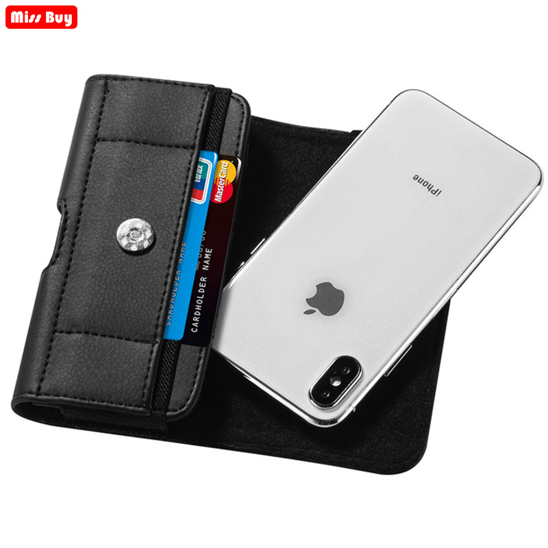 Belt Clip Phone Bag Pouch For Xiaomi Redmi Note 9S For Xiaomi mi 10 Pro Pocophone <font><b>F1</b></font> Waist Case Leather Cover With Card Slot image