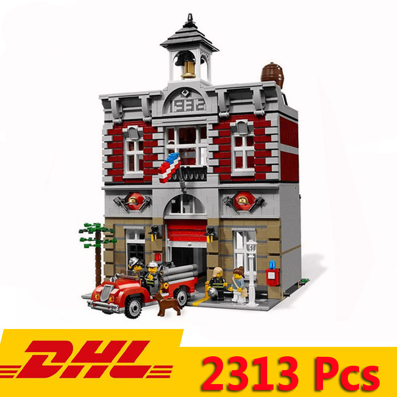 DHL 15004/84004 2313pcs Street View Series Nostalgic Fire Station Model Building Blocks Bricks Compatible Legoeds City <font><b>10197</b></font> Toy image