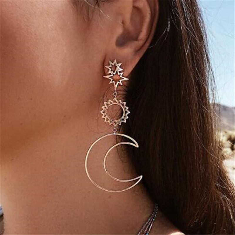 1 Pair Exquisite Women Bohemia Star Sun Moon Hollow Earrings Metal Alloy Vintage Geometric Hollow Out Dangle Earring