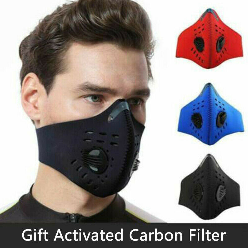 Anti Flu PM2.5 Cycling Face Mask Breathable Double Air Valve Bicycle Mouth Mask Dust Smog Windproof Reusable Bike Half Face Mask