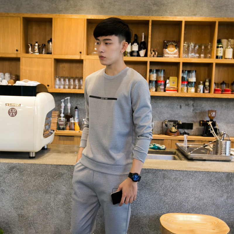 MEN'S Casual Suit Men's Sports Clothing Men's Autumn And Winter Korean-style Teenager Thick Men Sports Hoodie Two-Piece Set Men'