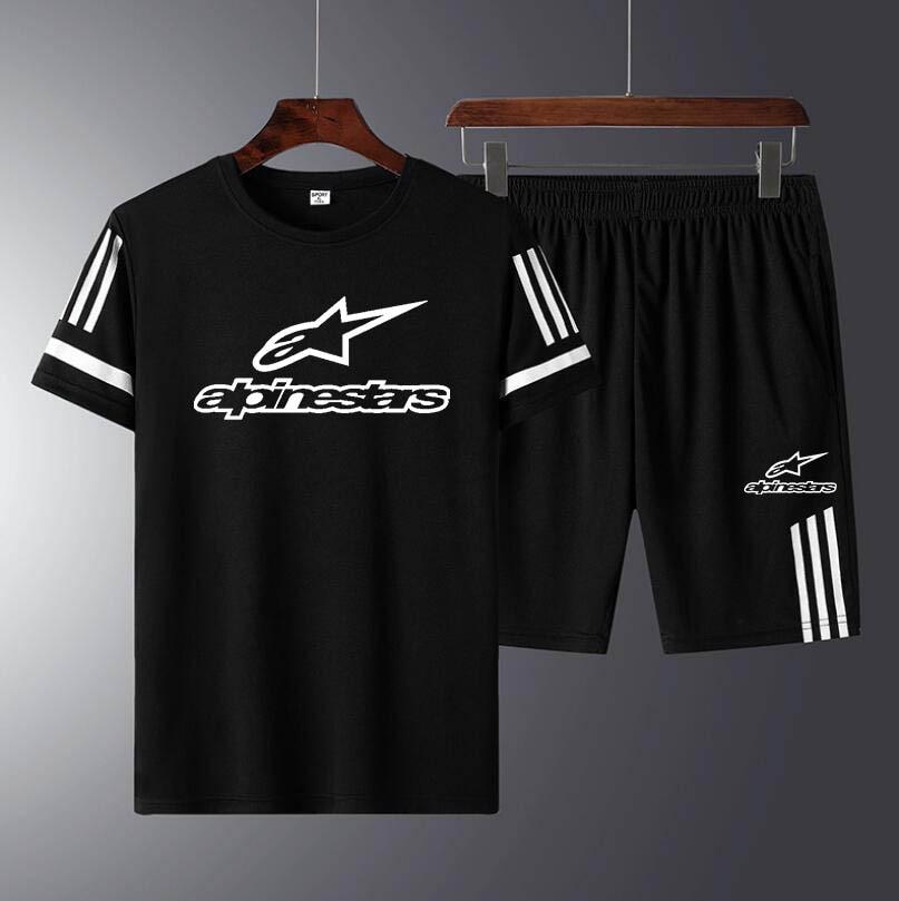 Alpine Star Men Casual Set Fashion 2 PCS Sweat Suit Striped Short Sleeve T-shirt Sets Male Sportswear Tracksuit Summer Sportsuit