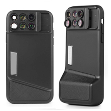 Bluetooth טלפון מקרה ערכת מצלמה עדשה עבור IPhone X 6 ב 1 Fisheye רחב זווית מאקרו עדשה עבור iPhone X 10 טלסקופ זום עדשות