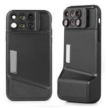 Caso do telefone bluetooth kit lente da câmera para o iphone x 6 em 1 olho de peixe grande angular macro lente para o iphone x 10 telescópio zoom lentes