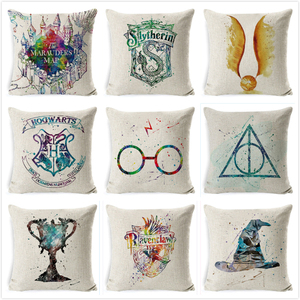 Harry-Potter Cushion Cover Cotton Linen Goblet of Fire The Deathly Hallows Home Decor Pillow Cover for Sofa Cojines Cushion Case