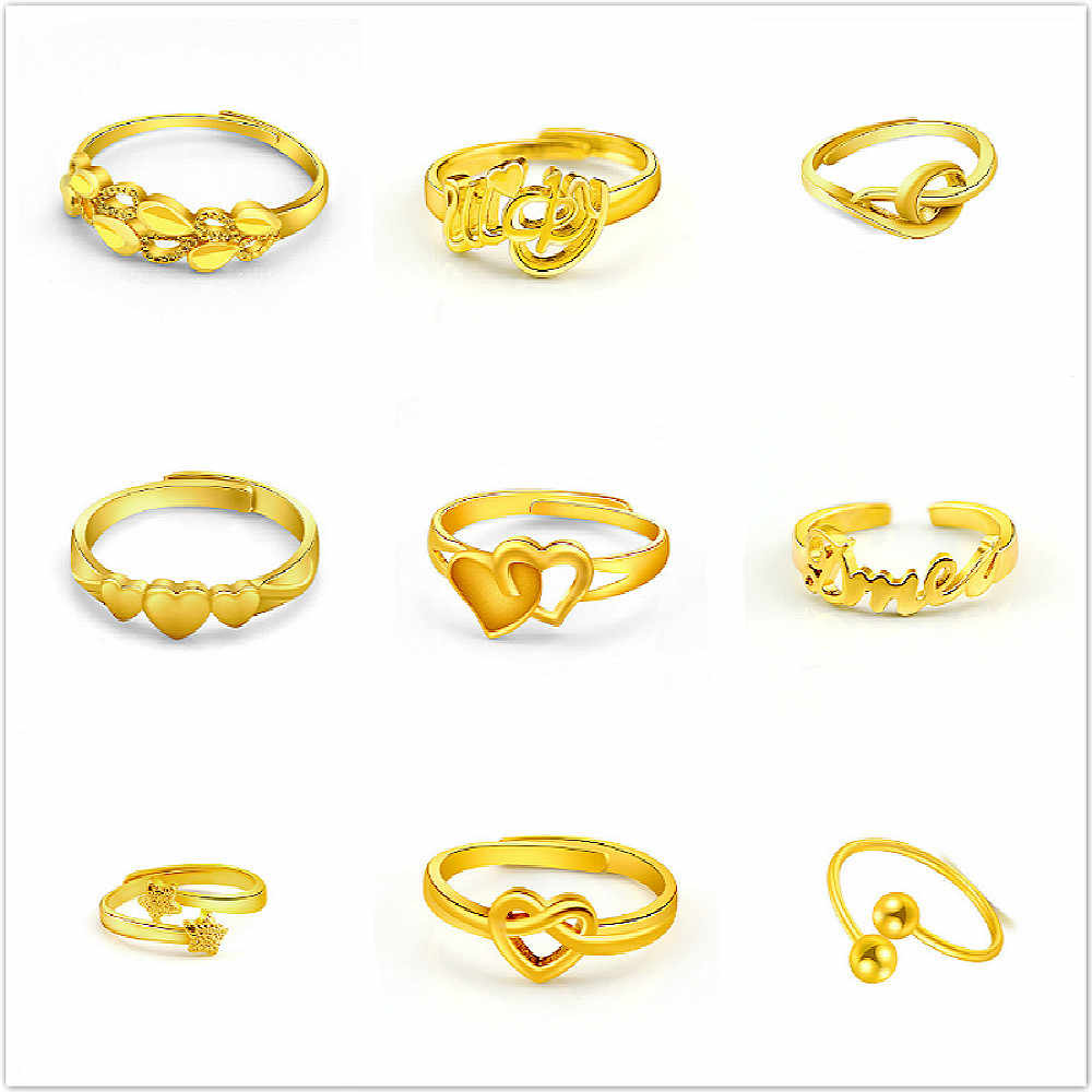 Hot Sell 17 Style Adjustable Rings Women Golden Color Stainless Steel Wedding Get Married Ring Madam Jewelry Wholesale