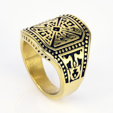New generosity finger ring jewelry titanium steel figure rings fashion jewelry gold color casting ring for man free shipping недорого