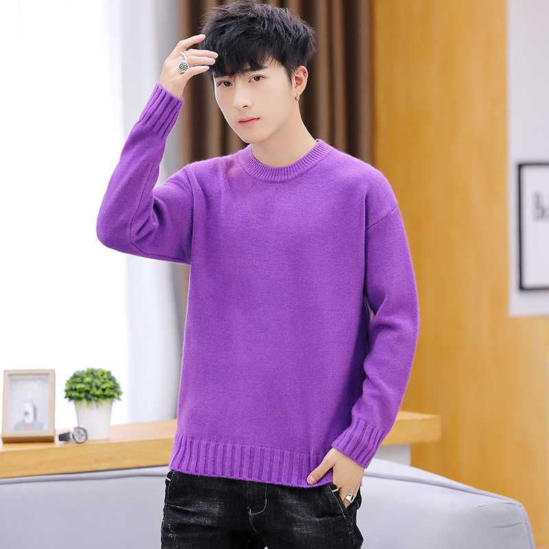 Long Sleeve Sweater Men Winter White Yellow Red Purple Khaki Black Blue O-Neck Solid Thick Pullovers Casual Mens Sweaters